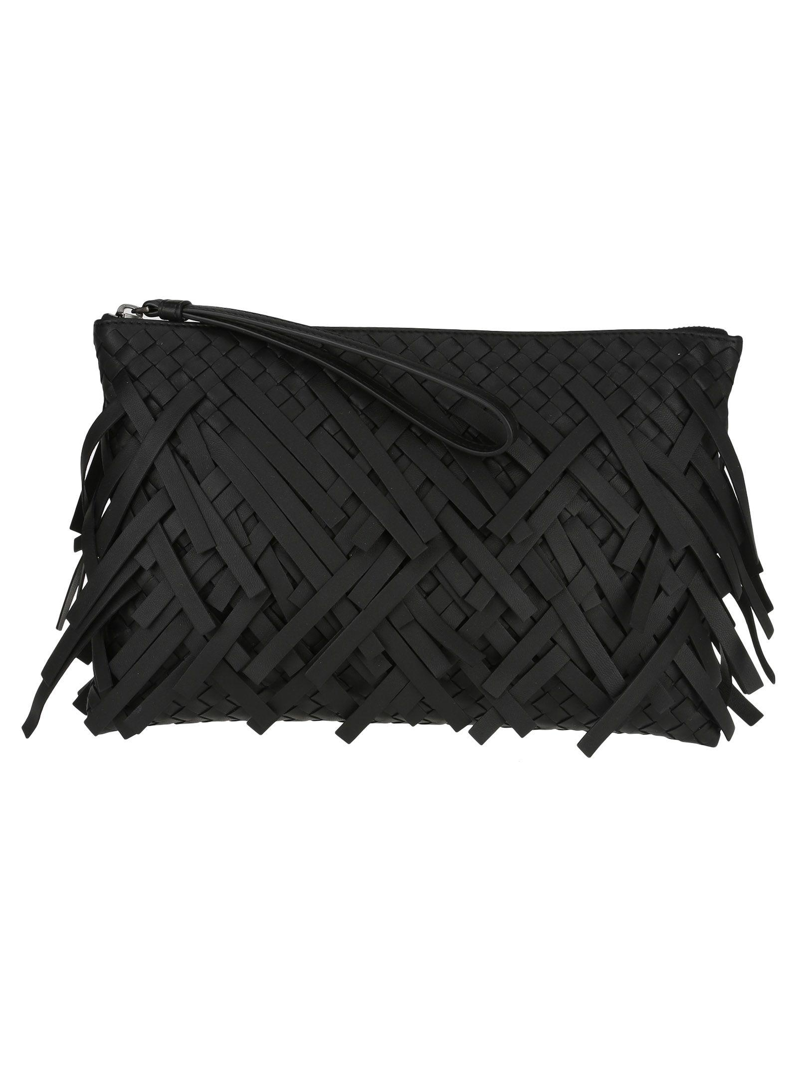 Bottega Veneta Pouch Fringe In Black