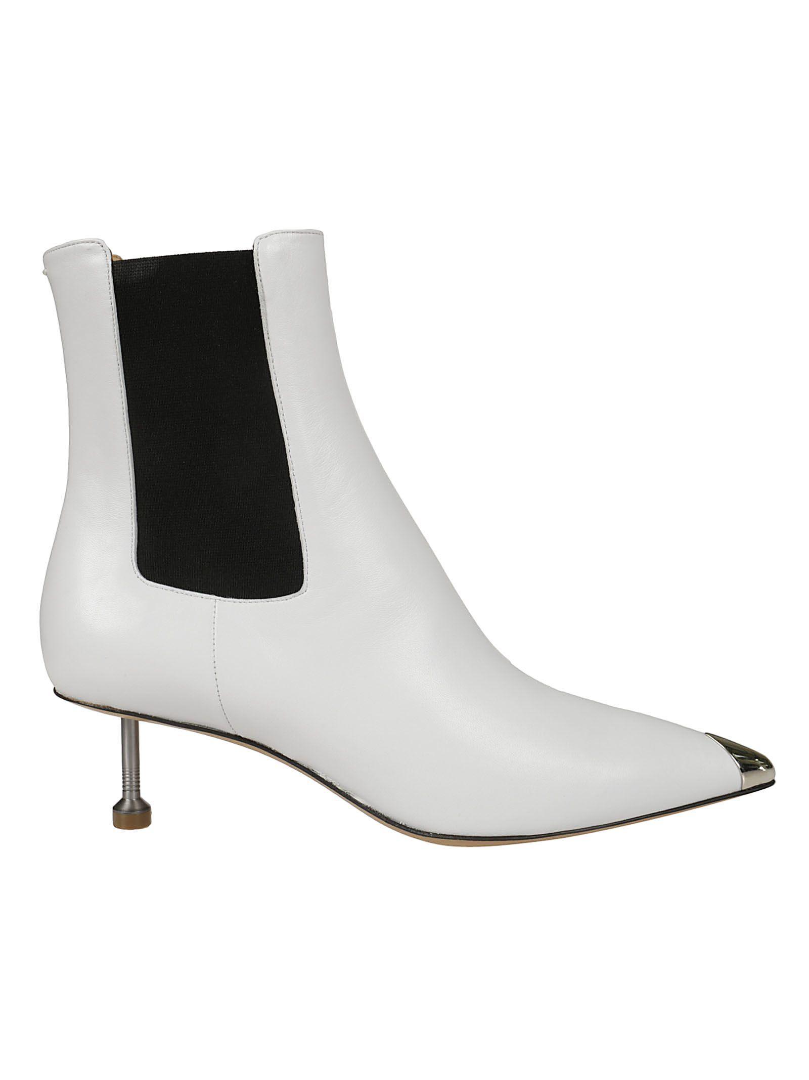 Maison Margiela Kitten Heel Chelsea Boots In White/black