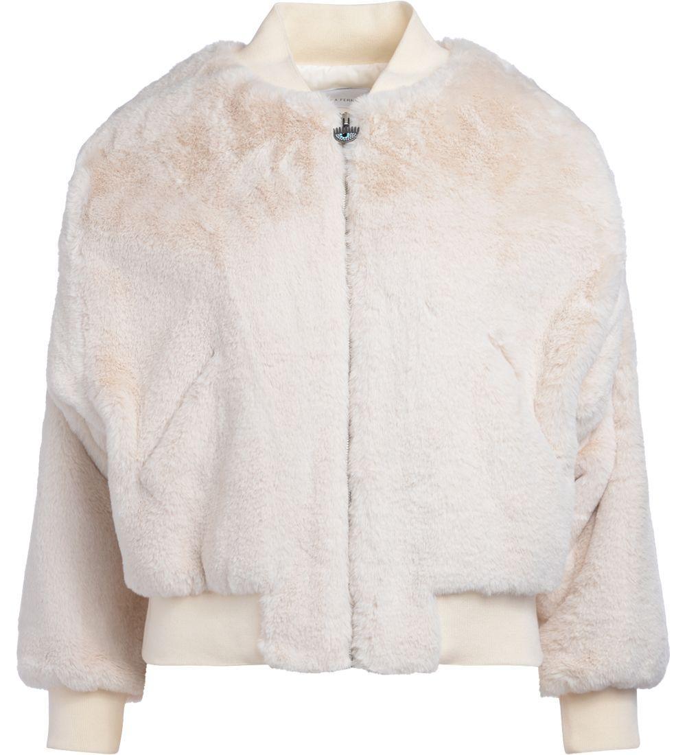 Chiara Ferragni White Eco Fur Bomber In Bianco