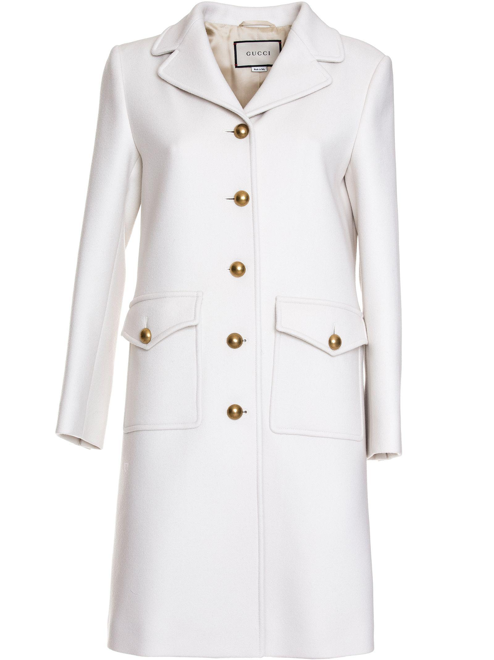d6ded929955 Gucci Wool Coat With Double G In Bianco