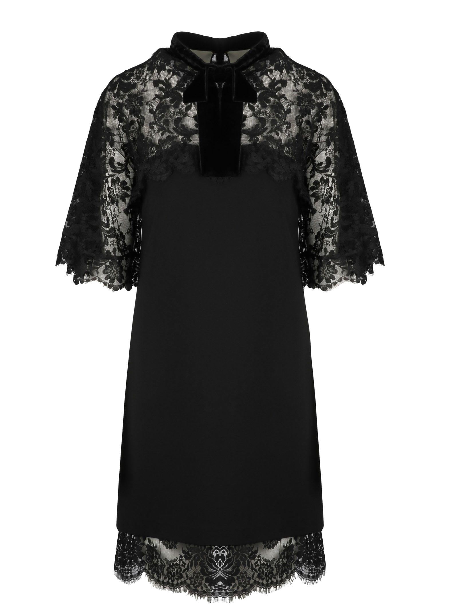 Gucci Lace Panels Short Dress In 1000
