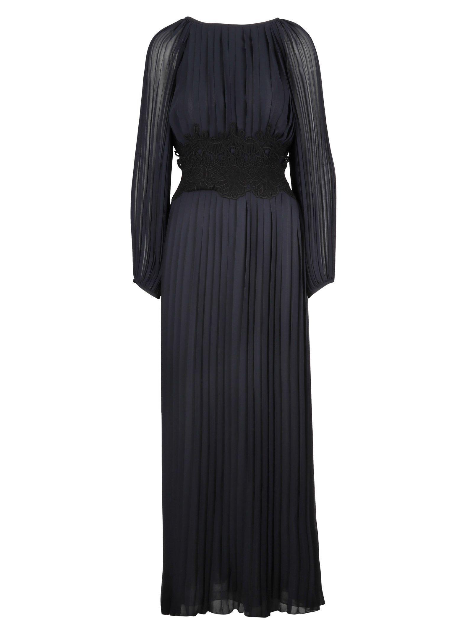 Parosh P.a.r.o.s.h. Long Pleated Dress In Basic