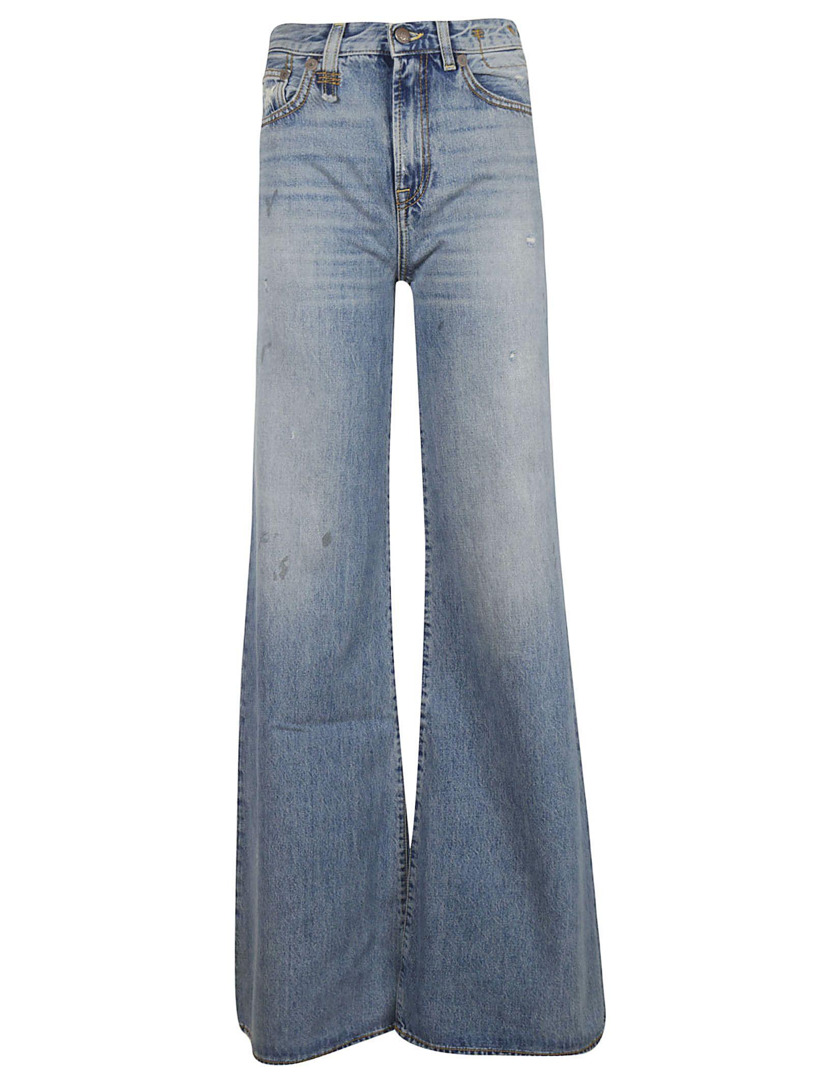 R13 Raegan Wide Leg Jeans In Blue