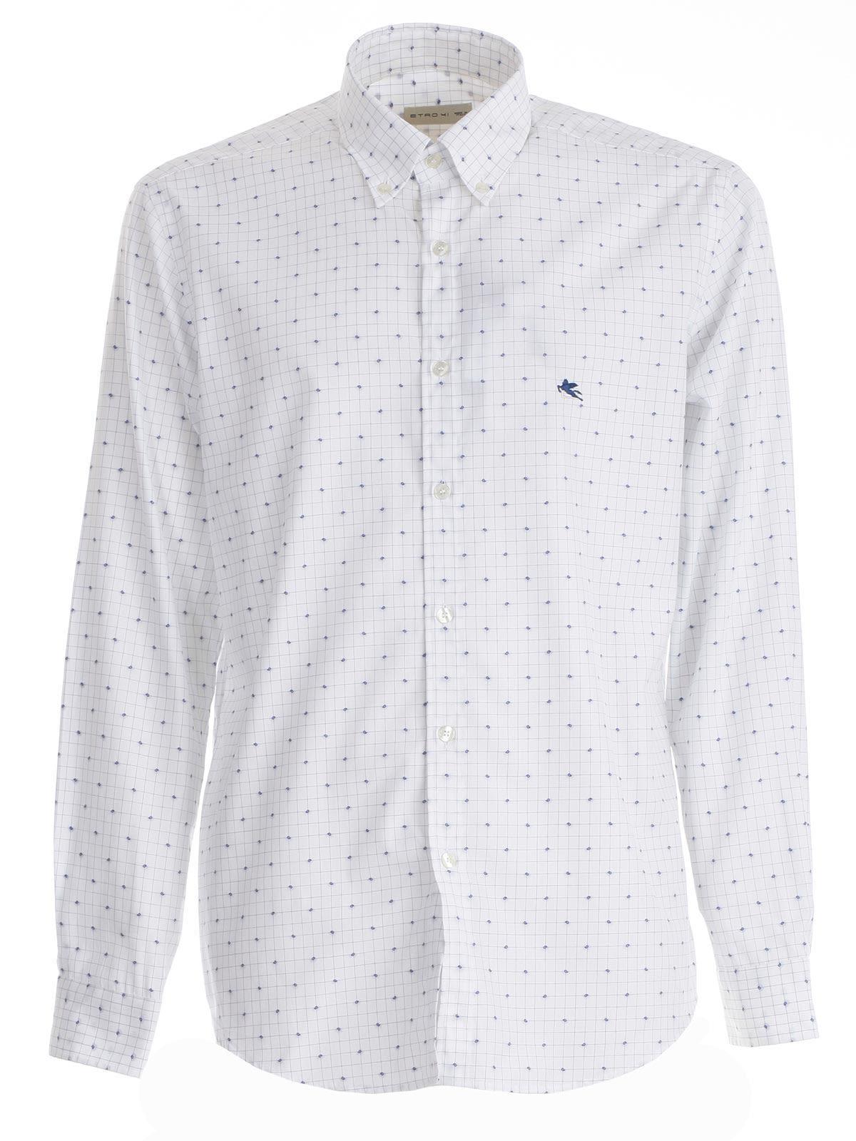 Etro Printed Shirt In White Navy