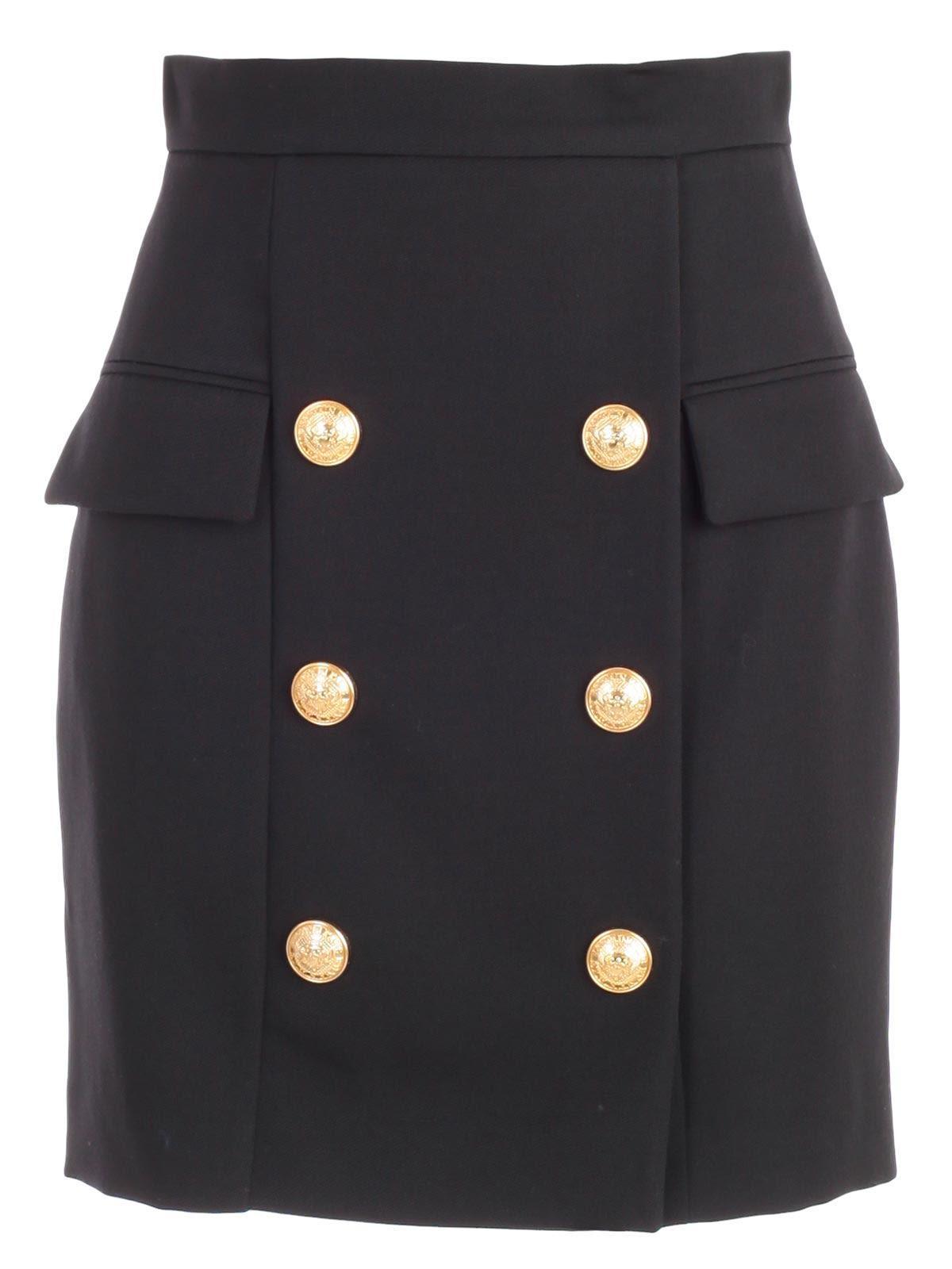 Balmain Button Embellished Mini Skirt In Cblack
