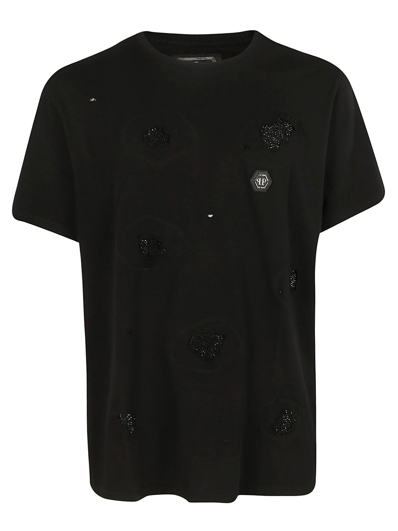 Philipp Plein Embellished T-shirt In Black