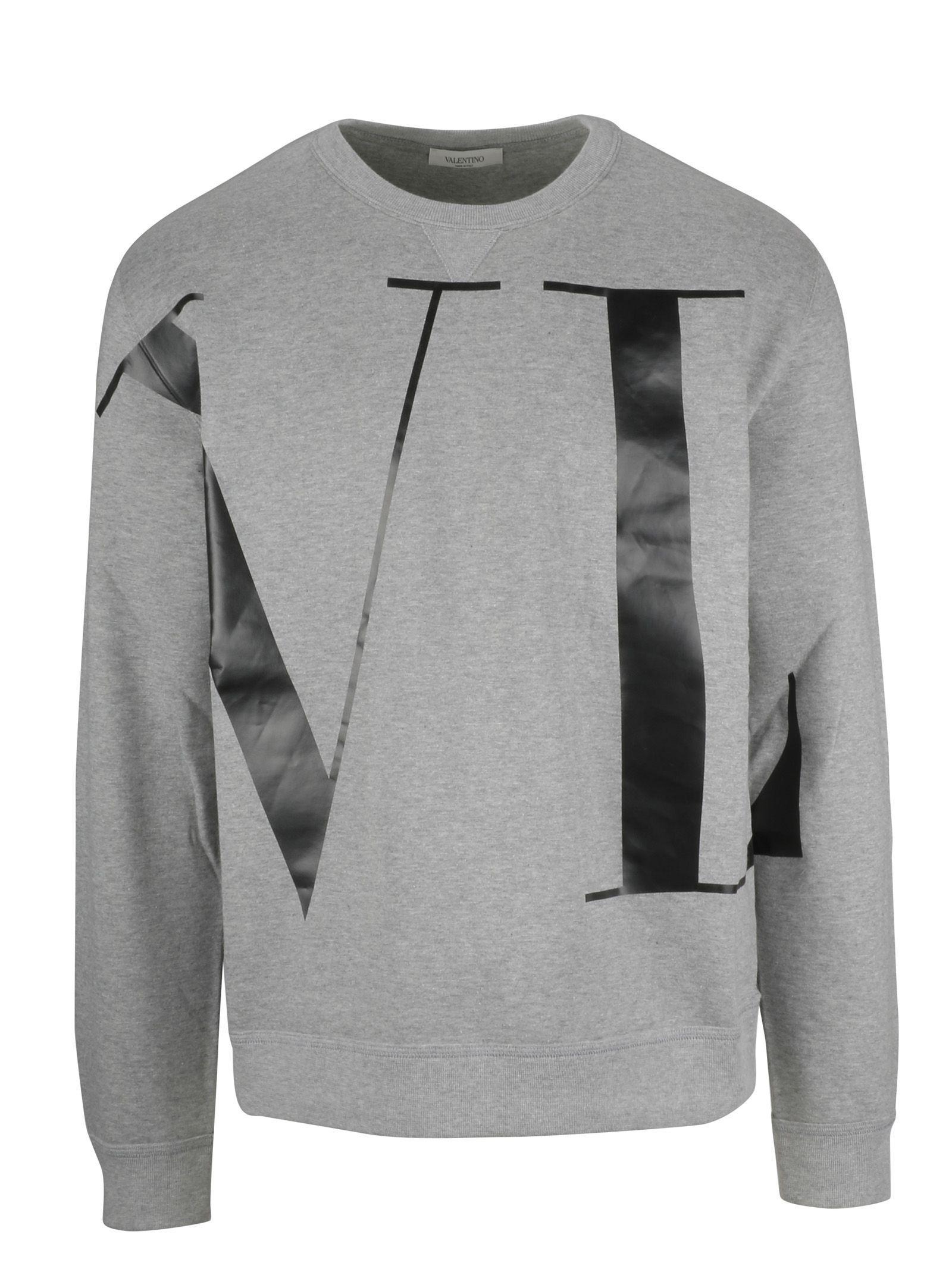 Valentino Vltn Grey Cotton Sweatshirt In 080