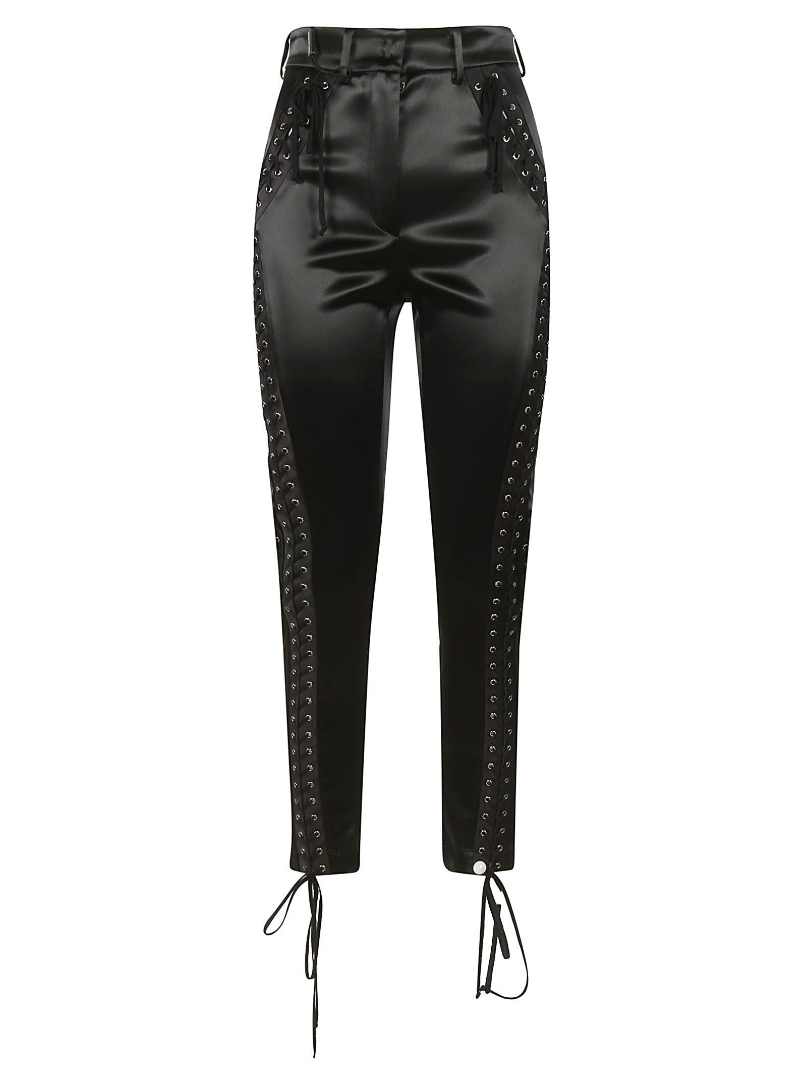 Dolce & Gabbana Lace-up Detail Trousers In Black