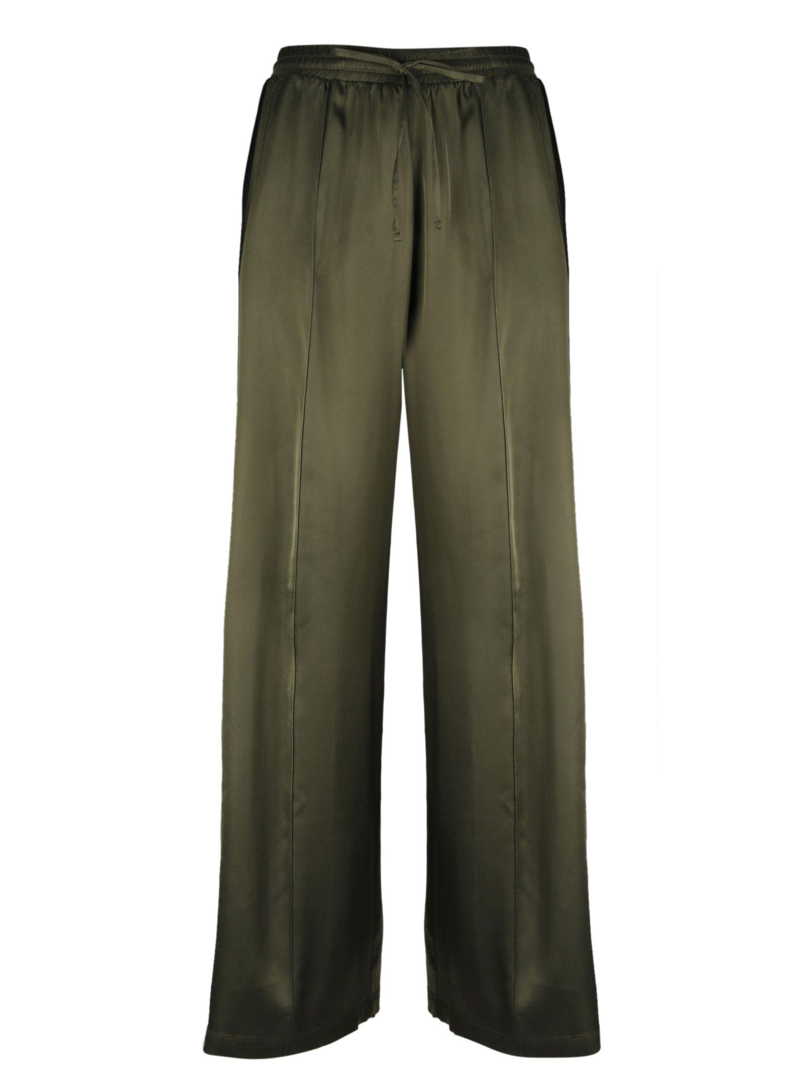 Semicouture Side Stripe Trousers In Oliva