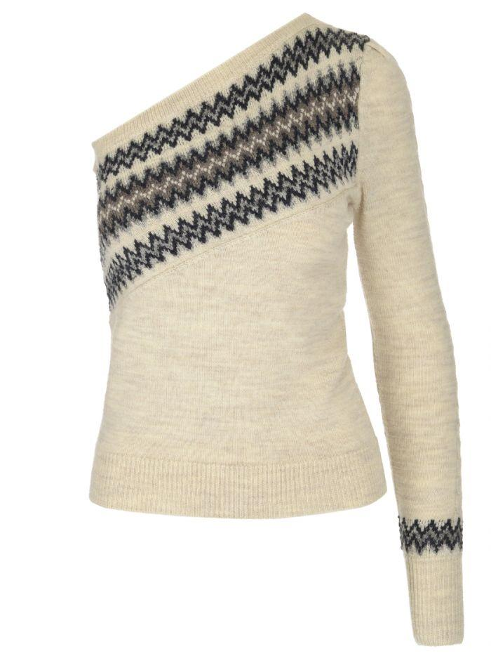 Isabel Marant One-shoudler Fitted Sweater In White