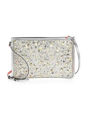 Christian Louboutin Glitter Leather Shoulder Bag In Multi