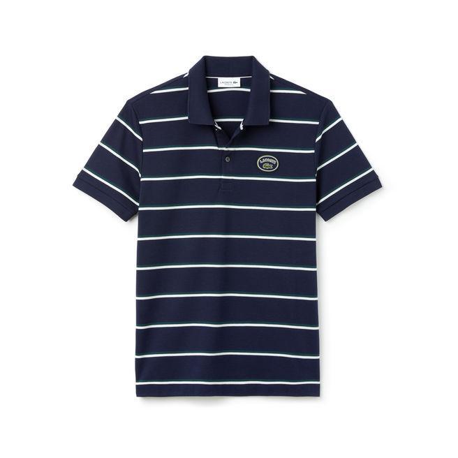 Lacoste Men's Regular Fit Striped Cotton Interlock Polo In Navy Blue / White / Green