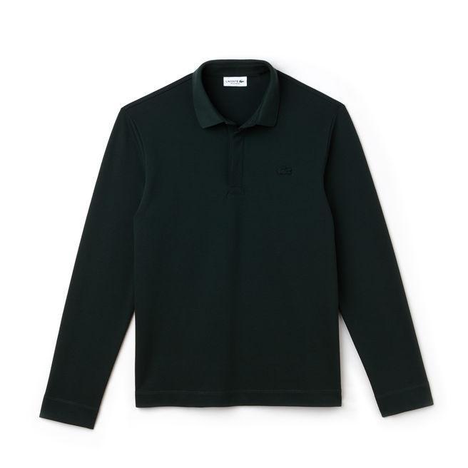 Lacoste Men's Long-sleeve Paris Polo Regular Fit Stretch Cotton PiquÉ In Grey