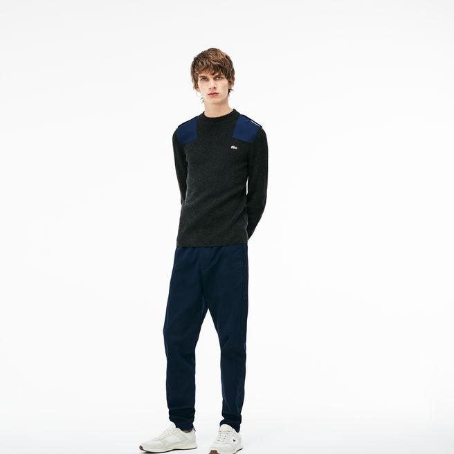 Lacoste Men's Crew Neck Colorblock Ribbed Wool And Cotton Sweater In Grey / Navy Blue