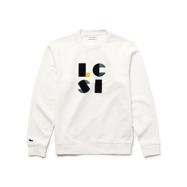 Lacoste Men's Crew Neck Lettering Cotton Fleece Sweatshirt In White