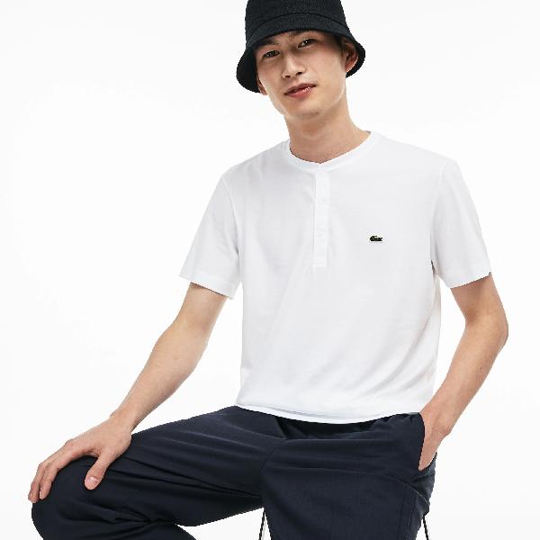 Lacoste Men's Henley Neck Pima Cotton Jersey T-shirt In White