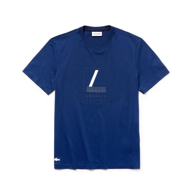 Lacoste Men's Crew Neck Rubber Lettering Soft Jersey T-shirt In Inkwell