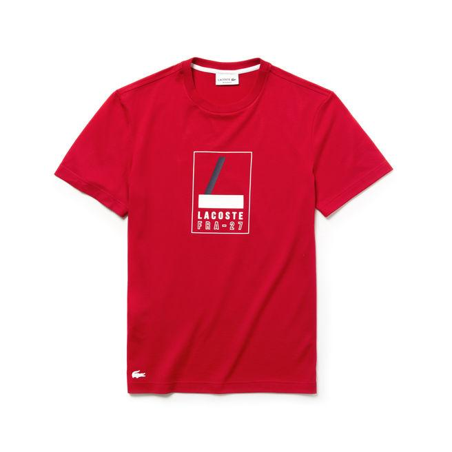 Lacoste Men's Crew Neck Rubber Lettering Soft Jersey T-shirt In Red