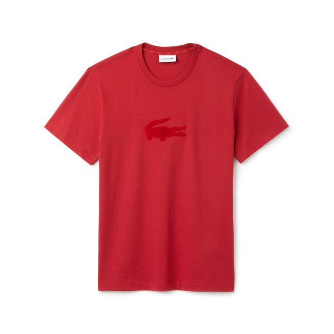 Lacoste Men's Crew Neck Oversized Crocodile Jersey T-shirt In Red