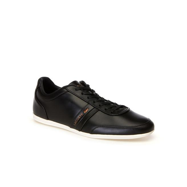 Lacoste Men's Storda Leather Trainers In Black/offwhite