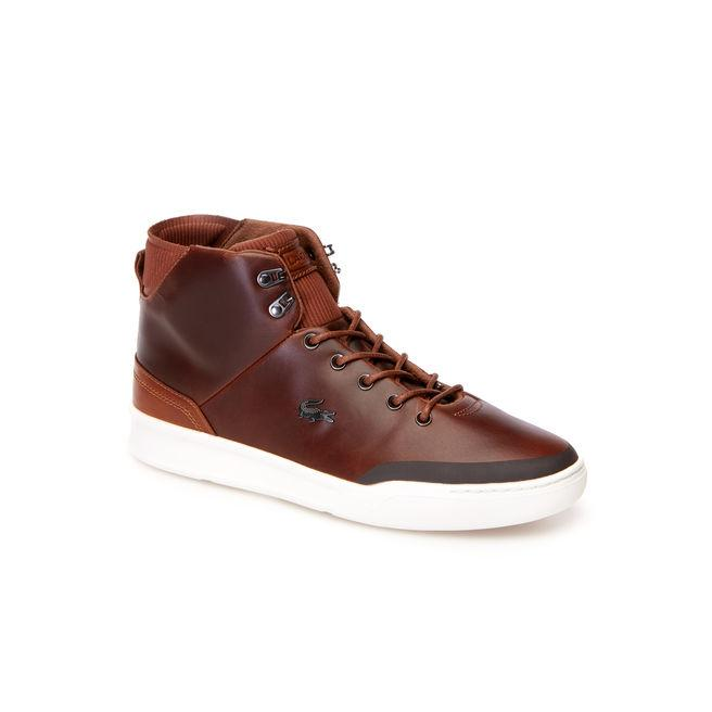 Lacoste Men's Explorateur Classic High-top Leather Trainers In Dark Tan/brown