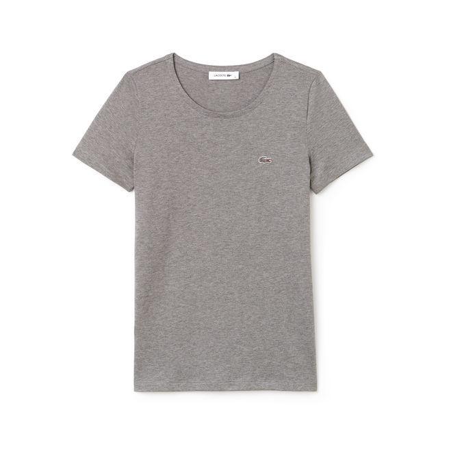 Lacoste Women's Crew Neck Flowing Cotton Jersey T-shirt In Grey
