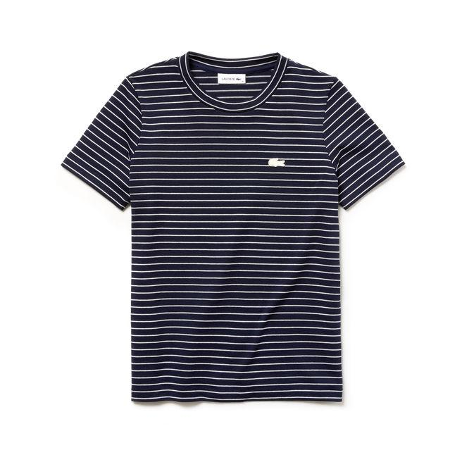 Lacoste Women's Crew Neck Striped Cotton Jersey T-shirt In Navy Blue / White