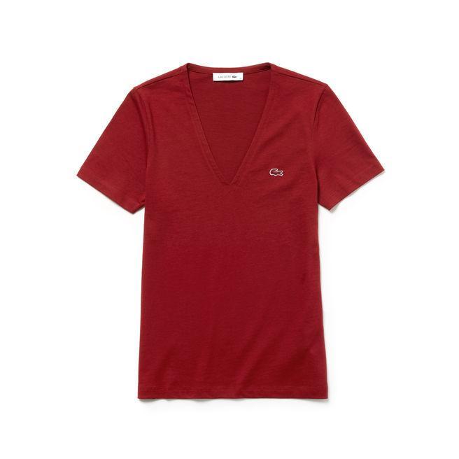 Lacoste Women's Slim Fit V-neck Cotton Jersey T-shirt