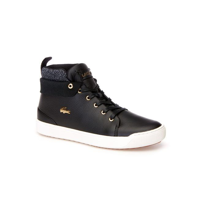 Lacoste Women's Explorateur Classic Mid Leather And Textile Trainers In Black/offwhite