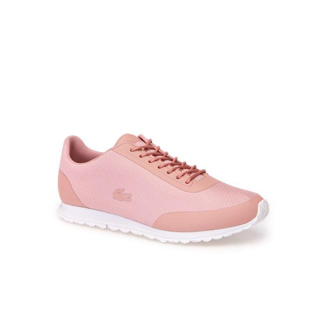 Lacoste Women's Helaine Runner Textile Trainers In Pink/white