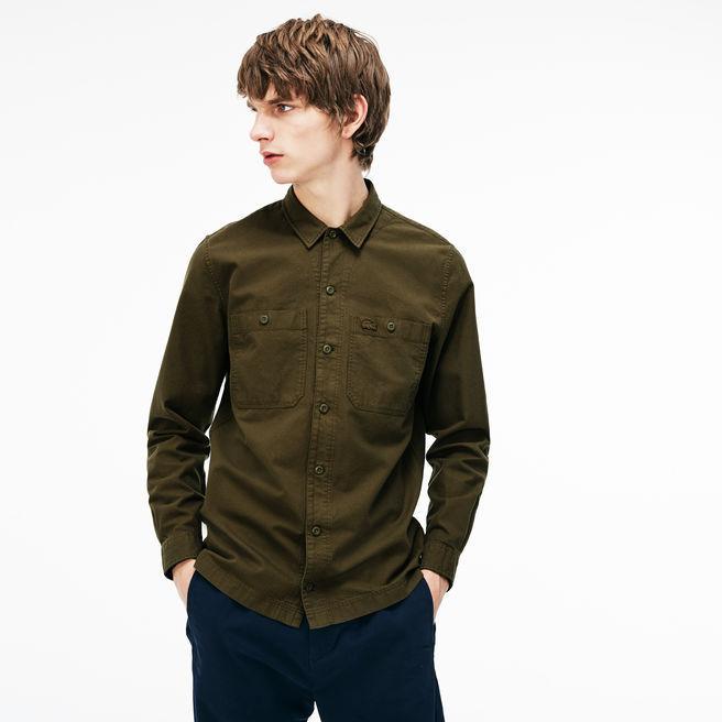 Lacoste Men's Regular Fit Lightweight Cotton Flannel Shirt In Khaki Green