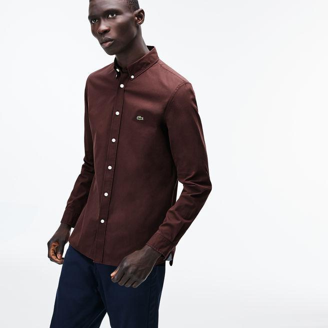 Lacoste Men's Slim Fit Stretch Cotton Poplin Shirt In Brown