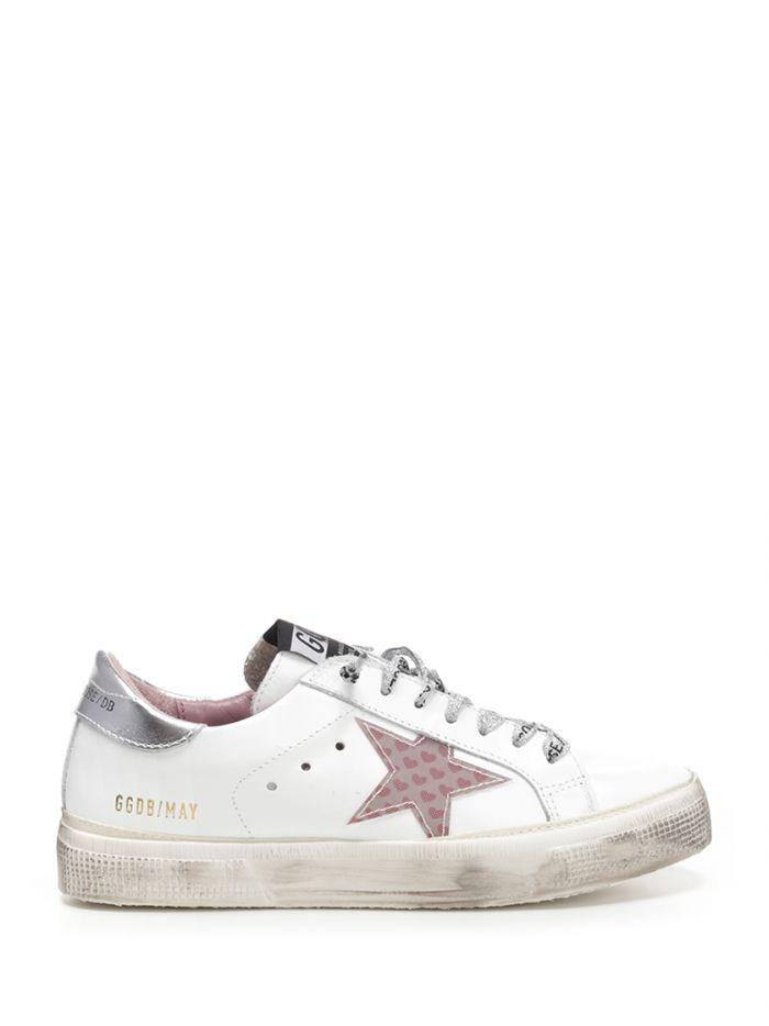"Golden Goose "" May "" Sneakers With Pink Star In White"