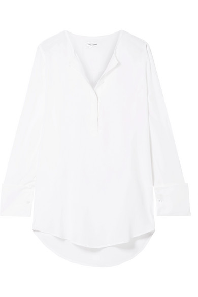 Equipment Windsor Silk Crepe De Chine Blouse In White