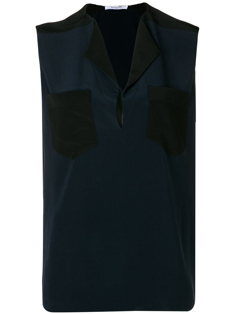 Givenchy Chest Pockets Sleeveless Blouse In Blue