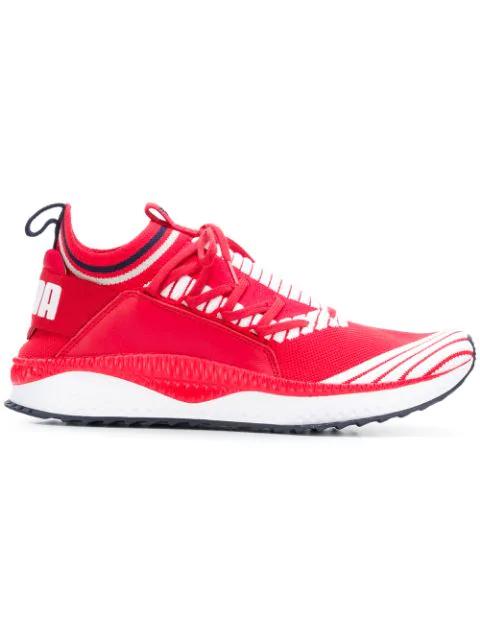 Puma Evolution Tsugi Jun Sport Stripes Sneakers In Red