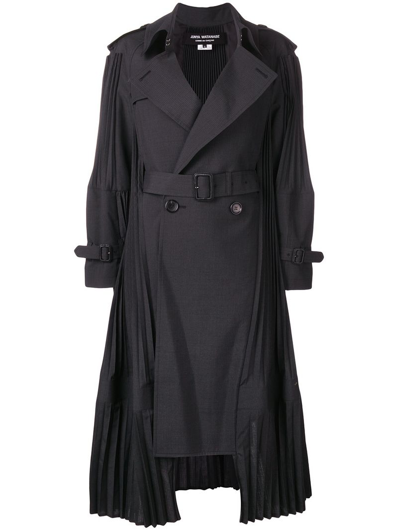 Junya Watanabe Pleated Trench Coat - Black