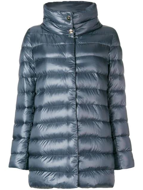 Herno High Collar Padded Coat In Grey