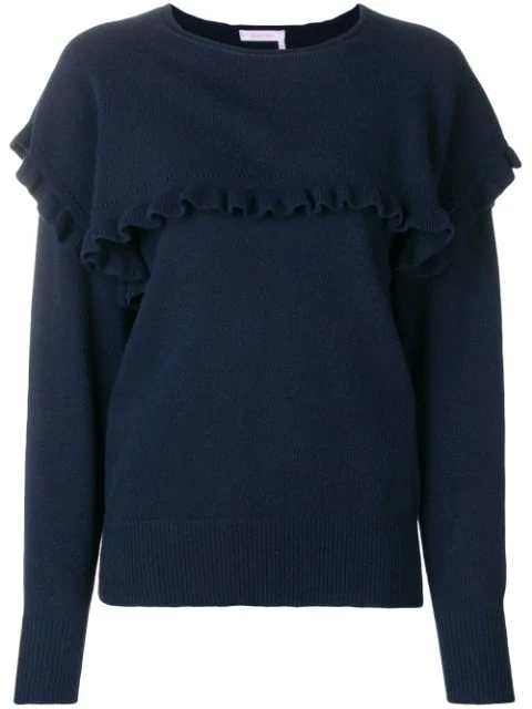 See By ChloÉ Round Neck Ruffle Sweater In Blue