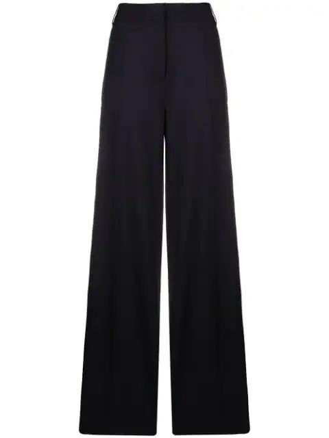 Victoria Victoria Beckham Wide Leg Metallic Tailoring Trousers In Blue