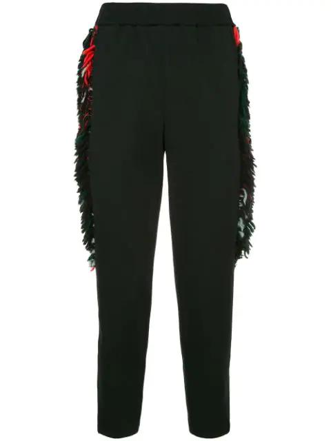 Yoshiokubo Side Fringe Trousers In Black