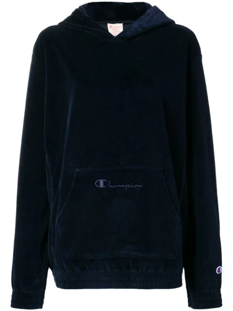 Champion Velour Oversized Hoodie In Blue