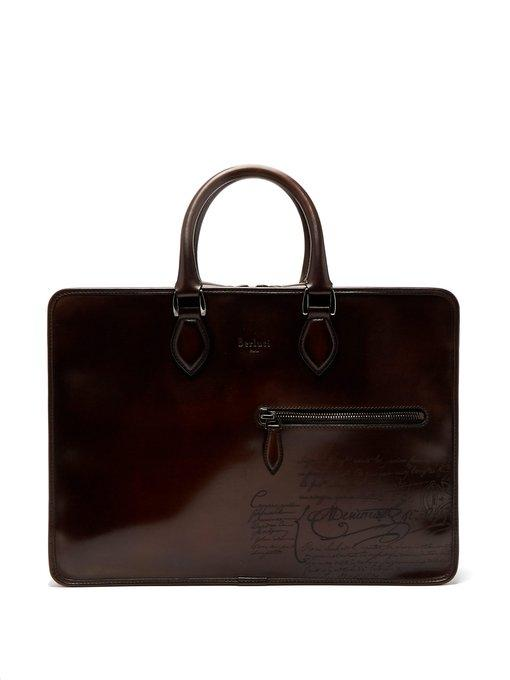 Berluti 2 Jours Leather Briefcase In Brown