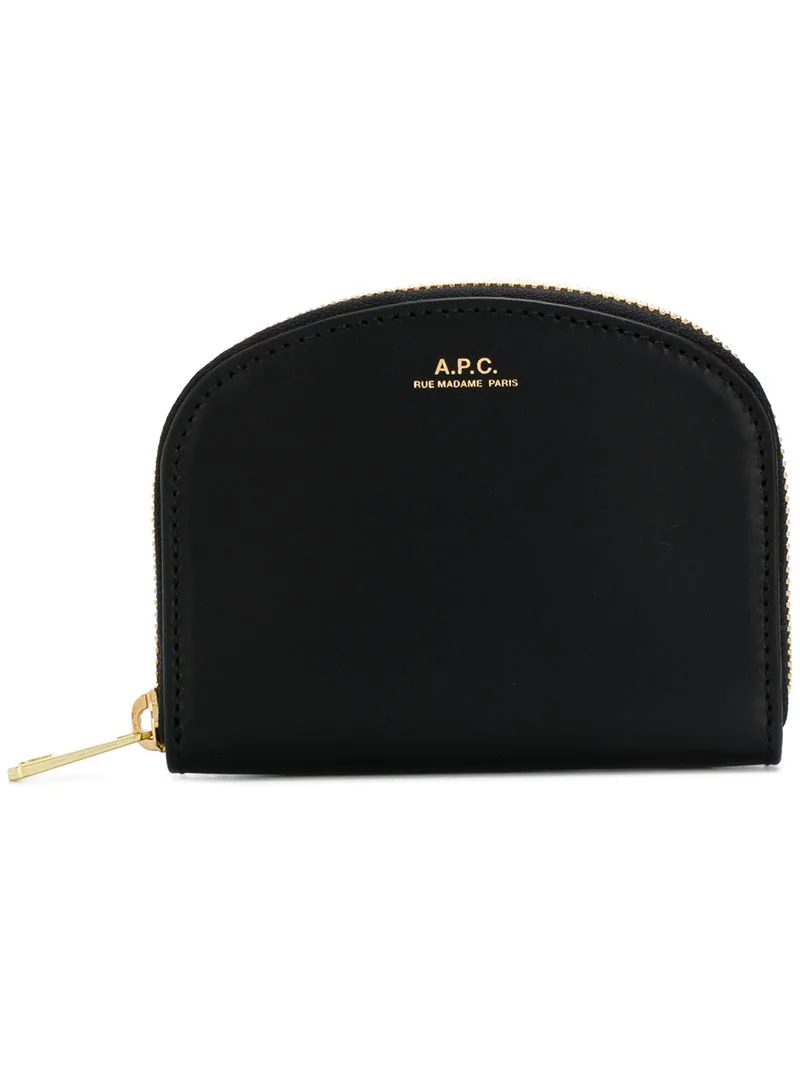 3a53dcef5e7d5 A.P.C. Half-Moon Zip-Around Leather Wallet In Black