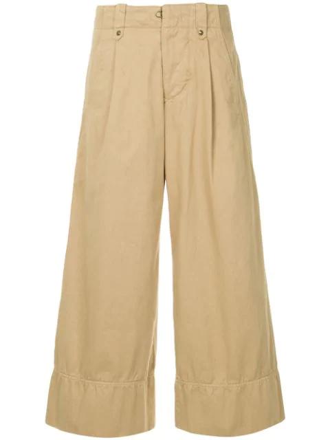 Kolor Wide Leg Cropped Trousers In Brown
