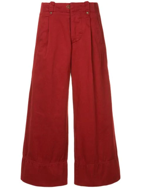 Kolor Wide Leg Cropped Trousers - Red