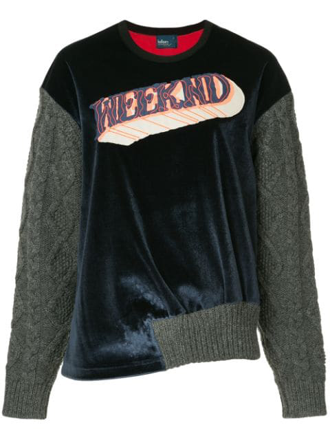 Kolor Knitted Sleeves Sweatshirt - Blue