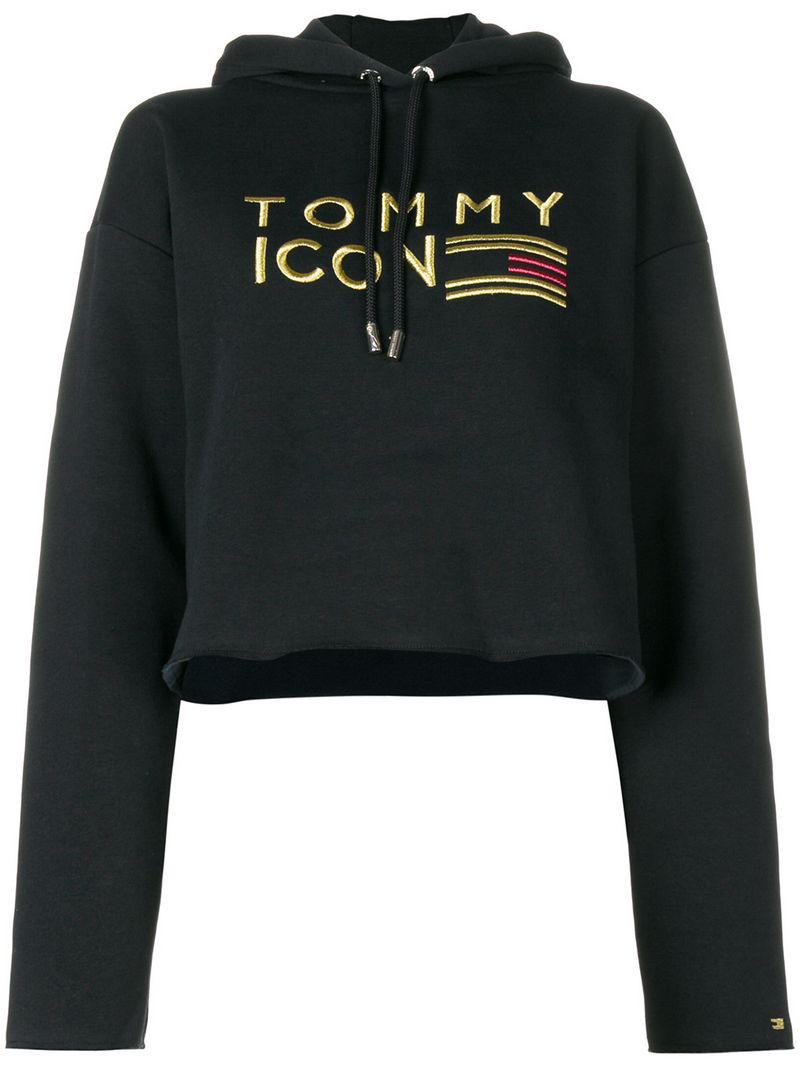 Tommy Hilfiger Embroidered Hoodie - Black