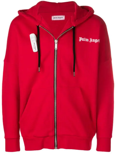Palm Angels Zipped Logo Hoodie In Red