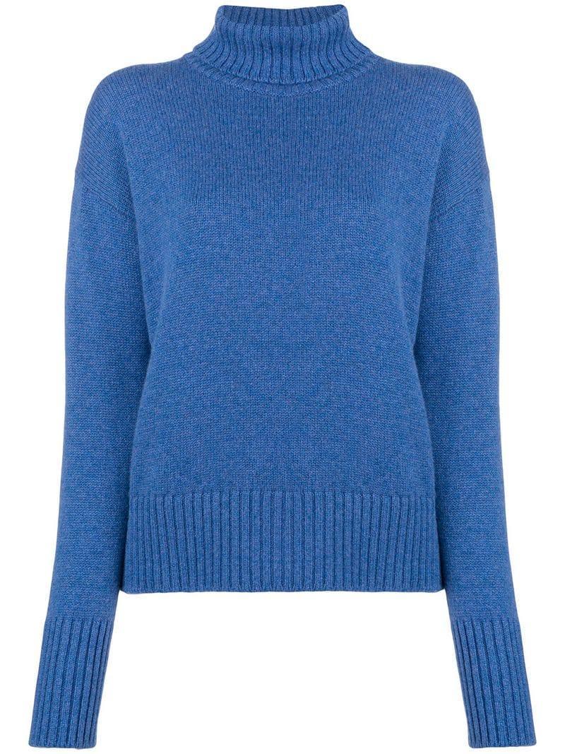 Lamberto Losani Ribbed Turtle Neck Sweater - Blue
